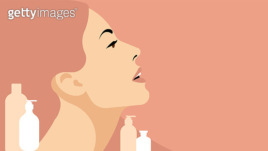 Beautiful woman with clean face. Closeup face of young adult woman with clean fresh skin. Concept of skin care.