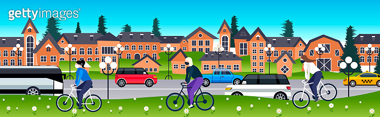 people in masks riding bicycles coronavirus pandemic quarantine protection concept man women cycling outdoor cityscape background full length horizontal vector illustration