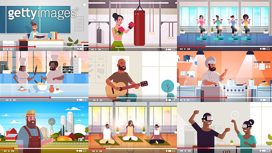 set bloggers recording online video vloggers doing live streaming broadcast social media networking blogging concept full length horizontal