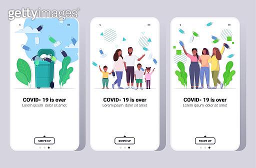 set people celebrating victory over covid-19 coronavirus quarantine is ending