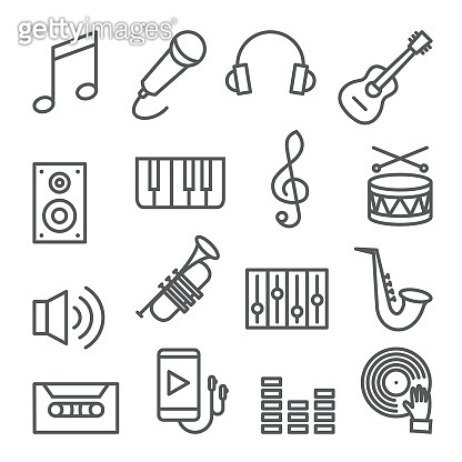 Music line icons set on white background