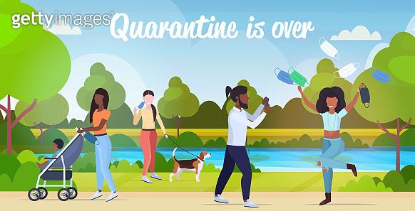 mix race people walking outdoors celebrating coronavirus quarantine is ending victory over covid-19