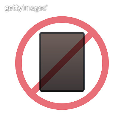 tablet pc in prohibition sign digital detox concept do not use gadgets