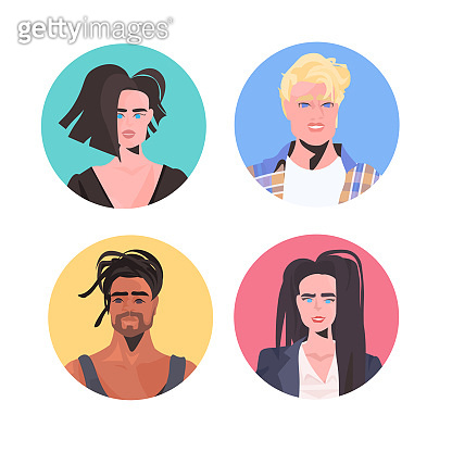 set mix race people profile avatars beautiful man woman faces male female cartoon characters collection