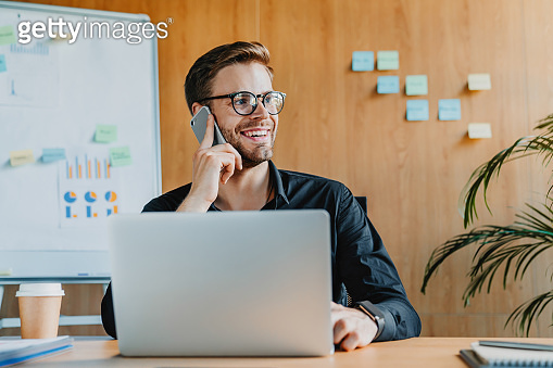 Handsome businessman using laptop talking on mobile phone and smiling while working in office