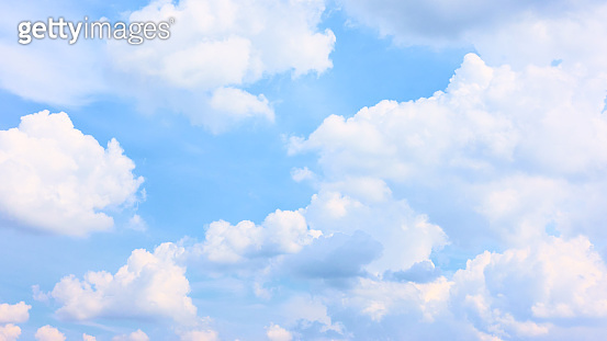Sky with white haep clouds - Summer cloudscape