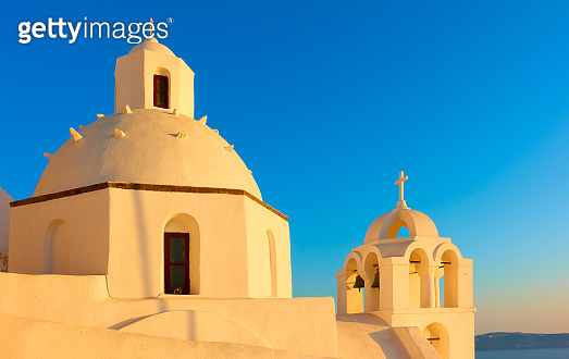 Domes of greek church in Santorini