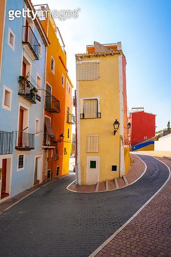 Villajoyosa La Vila Joiosa colorful Mediterranean houses in Alicante Spain