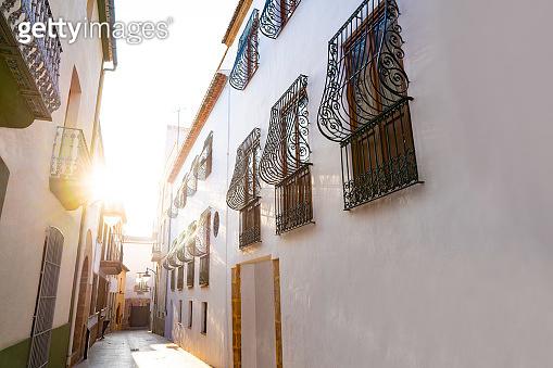 Javea Xabia Mediterranean street facades in Alicante Spain