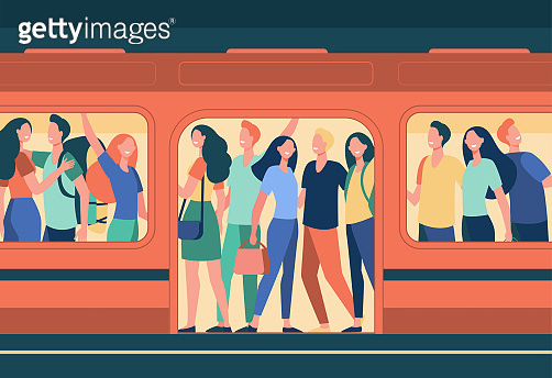 Crowd of happy people travelling by subway train