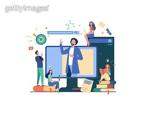Teacher reading lecture online