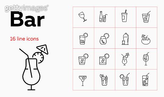 Bar line icon set. Takeaway cup, bottle, flute