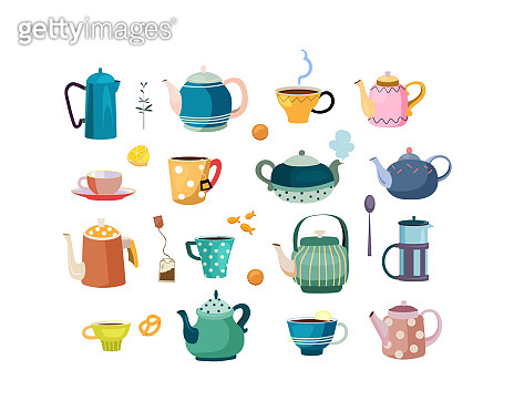 Teapots and cups set