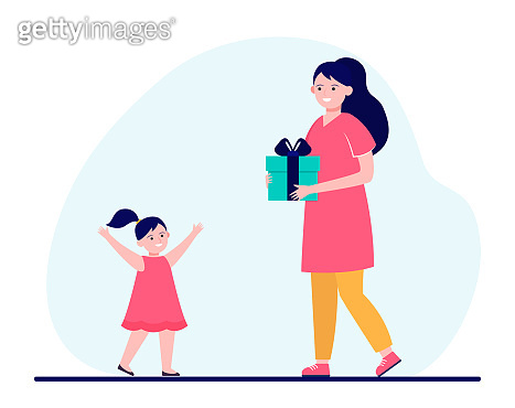 Happy mother holding gift for little daughter