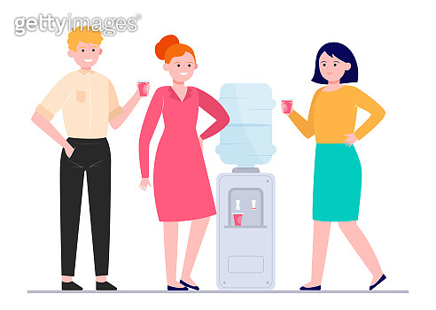 Positive people drinking water at cooler
