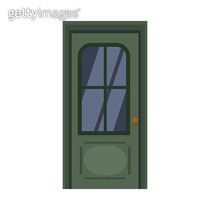 Green facade door with glass