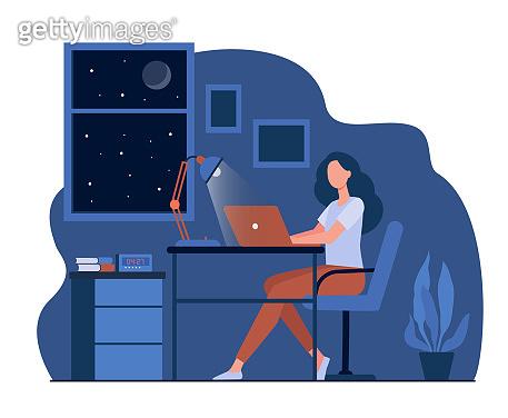 Female designer working late in room flat vector illustration
