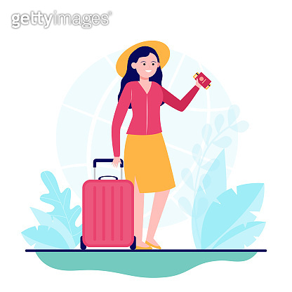 Happy woman travelling to other country