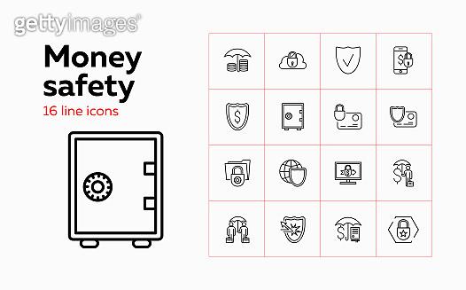 Money safety icons. Set of line icons on white background