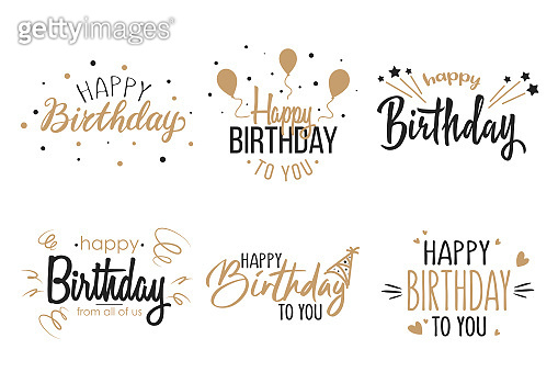Greeting birthday party calligraphy flat icon collection