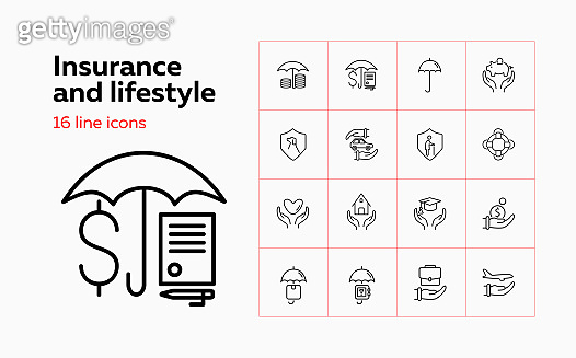 Insurance and lifestyle icon set. Set of line icons on white background