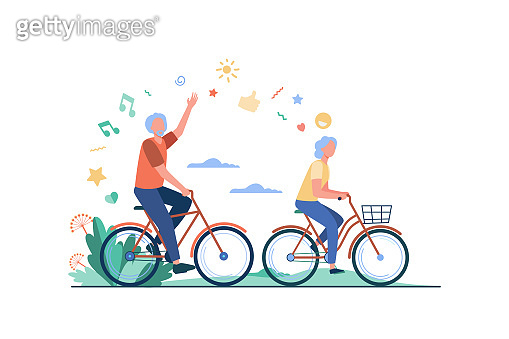 Senior man and woman riding bikes in city park