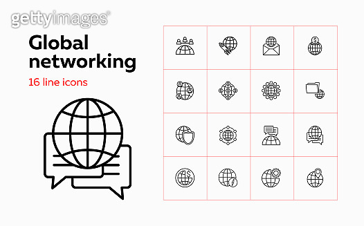 Global networking line icon set