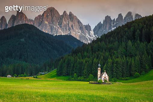 Beautiful St Johann church in Santa Maddalena mountain village, Italy