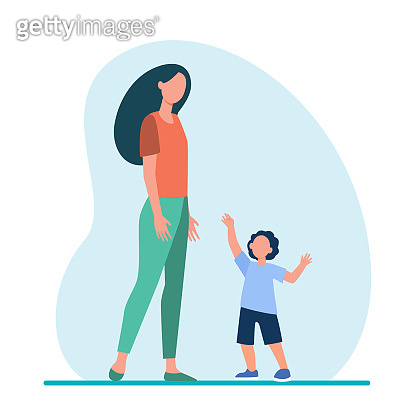 Little son reaching arms to his mom