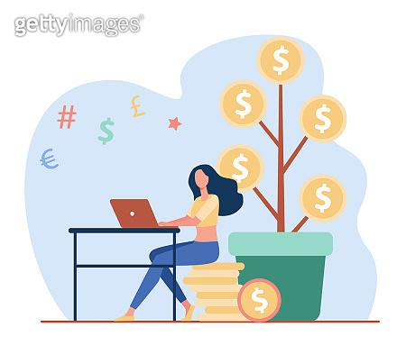 Woman investing money