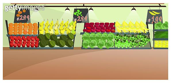 Vegetables and fruit in supermarket illustration