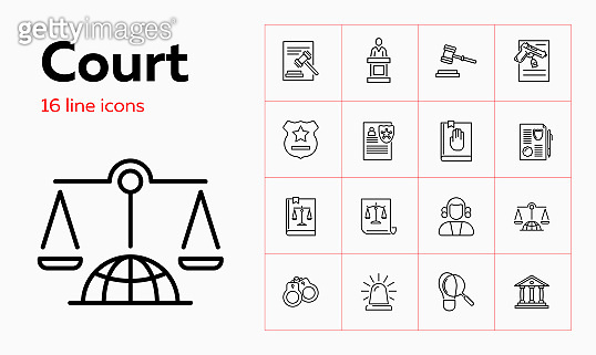 Court line icon set. Judge, courthouse