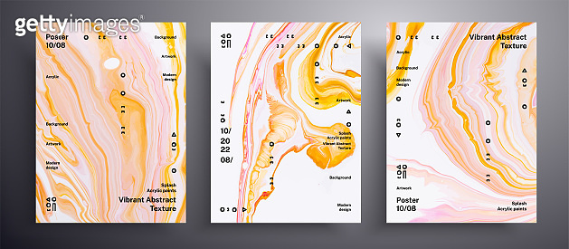 Abstract acrylic poster, fluid art vector texture collection. Trendy background that applicable for design cover, invitation, flyer and etc. Yellow, coral and white creative iridescent artwork.