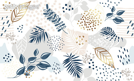 Seamless exotic pattern with tropical plants and pink elements. Vector