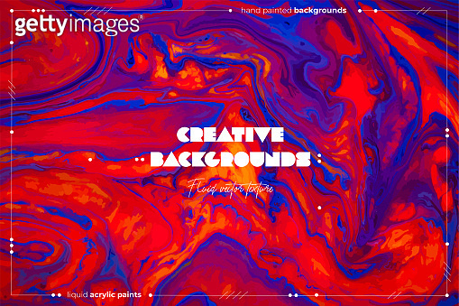 Fluid art texture. Abstract vector backdrop with mixing paint effect. Liquid acrylic picture with chaotic mixed paints. Can be used for posters or wallpapers. Red, blue and orange overflowing colors.