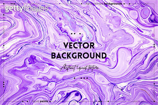 Fluid art texture. Backdrop with abstract swirling paint effect. Liquid acrylic picture with beautiful mixed paints. Can be used for interior poster. Purple and white overflowing colors.
