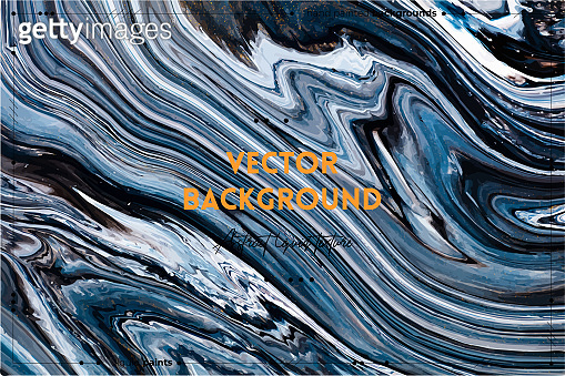 Fluid art texture. Backdrop with abstract swirling paint effect. Liquid acrylic artwork with flows and splashes. Mixed paints for posters or wallpapers. Black, navy blue and white overflowing colors.