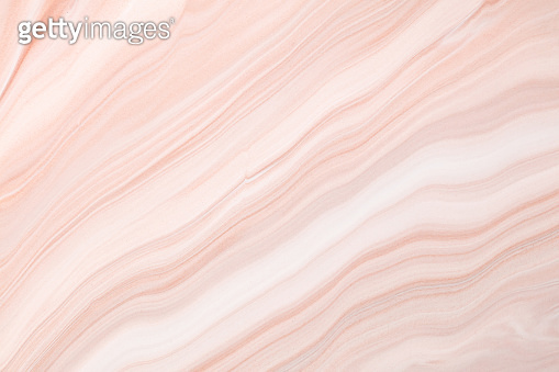 Fluid art texture. Backdrop with abstract iridescent paint effect. Liquid acrylic artwork with flows and splashes. Mixed paints for posters or wallpapers. Lavender, beige and white overflowing colors.