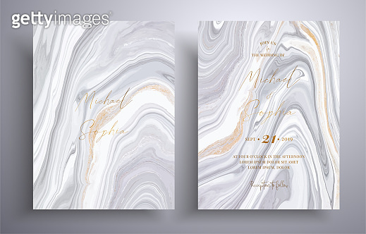 Vector wedding invitation with marble pattern. Golden, black and white overflowing colors. Beautiful cards that can be used for design cover, invitation, greeting cards, brochure and etc.