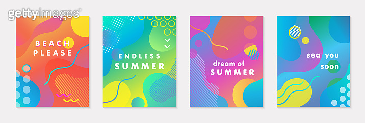 Bundle of modern vector summer posters with bright gradient background,shapes and geometric elements