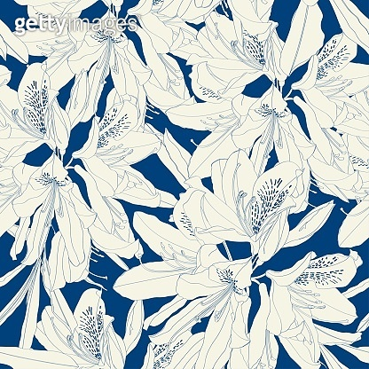 Line Rhododendron Cosmopolitan flowers, blue outline on a vintage background. Seamless pattern.