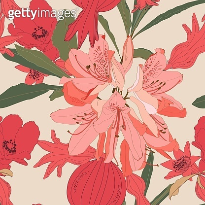 Seamless patterns with Rhododendron Oleander and pomegranate fruit with flowers and leaves in red and orange colors on beige background.