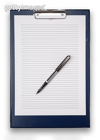 Straight on view of a blue clip board, and lined white paper, with a pen, isolated on white