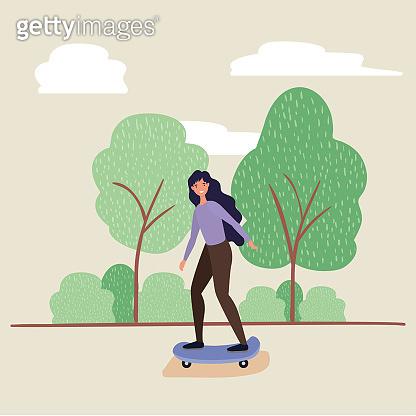 woman cartoon on skateboard at park vector design