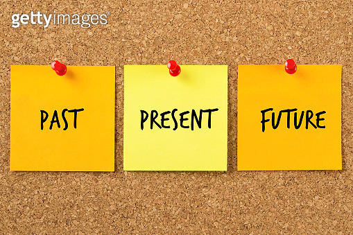 Past Present Future Sticky Notes on Corkboard