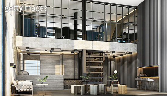 Interior with a reception desk in the loft style with gym area decorate with metal and concrete wall with wooden furniture 3d rendering