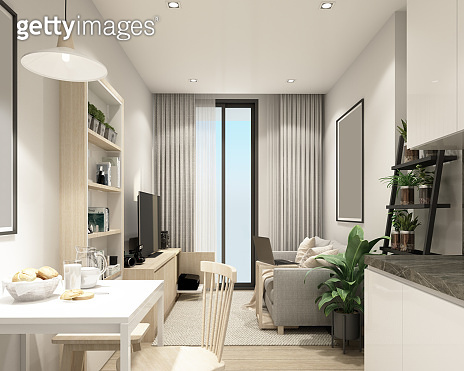 modern living room in condominium with modern contemporary style interior and wooder floor with furniture built in 3d rendering