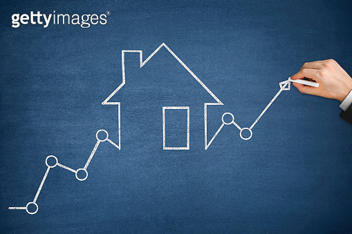 Mortgage Graph with Ascending Price Arrow