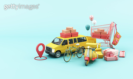Express delivery concept  Delivery by yellow  scooter motorcycle and yellow  van with location mobile application E-commerce concept with shopping cart on blue background 3d rendering