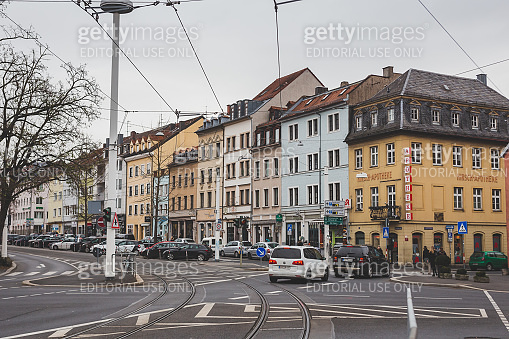 The intersection in the centre of Wurzburg, Germany